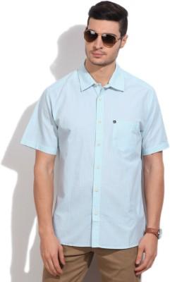 Quiksilver Men's Striped Casual White, Blue Shirt
