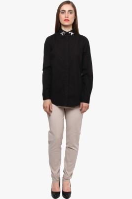 XnY Women's Solid Casual Black Shirt