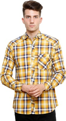 Ebry Men's Checkered Casual Yellow Shirt