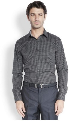 Park Avenue Men,s Checkered Formal Black Shirt