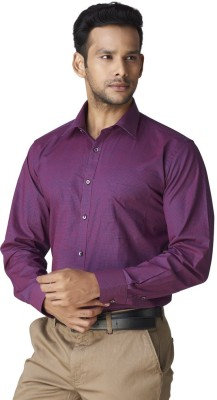 Warewell Men's Polka Print Formal Maroon Shirt