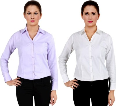 NGT Women's Solid Formal Silver Shirt