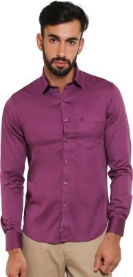 Classic Polo Men's Solid Formal Purple Shirt