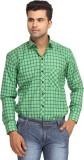 Orizzonti Men's Checkered Formal Green S...