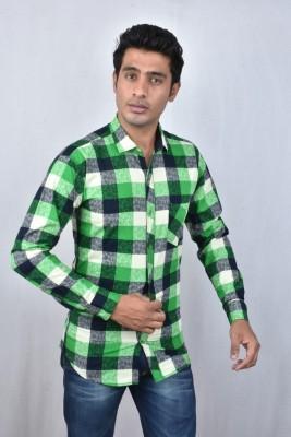Hometrade India Men's Checkered Casual Green Shirt
