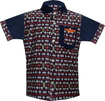 JBN Creation Boy's Geometric Print Casual Blue, Maroon, Multicolor Shirt