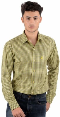 Winsome Deal Men's Checkered Casual Yellow Shirt