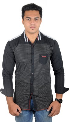 Yomaa Men's Polka Print Party Black Shirt