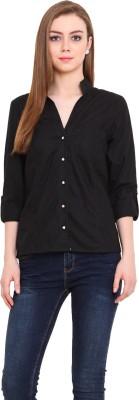 Pryma Donna Women's Solid Casual Black Shirt