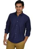 Atmosphere Men's Solid Formal Blue Shirt
