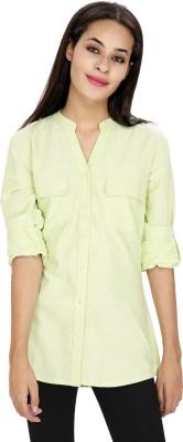 Ragdoll Women's Solid Casual Linen Light Green Shirt