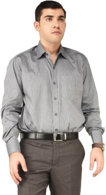 Alpha Centauri Men's Striped Formal Grey Shirt