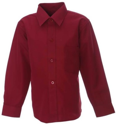 Sheena Boy's Solid Party Maroon Shirt