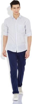 Blue Fire Men's Striped Casual Grey Shirt