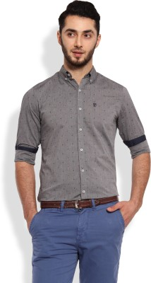 Oxford Club Men's Printed Casual Grey Shirt