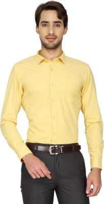 Cotton Power Men's Solid Formal Yellow Shirt