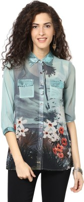 Love From India Women's Floral Print Casual Grey Shirt