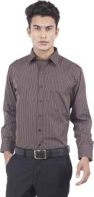 Eden Elliot Men's Striped Formal Black, Brown Shirt