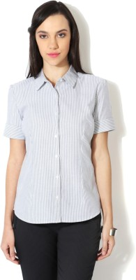 Van Heusen Women's Striped Casual Grey Shirt