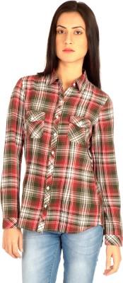 MIST ISLAND Women's Checkered Casual Red Shirt