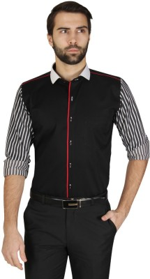Redcountry Men's Self Design Party Black Shirt