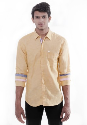 Enovate Men's Solid Casual Yellow Shirt