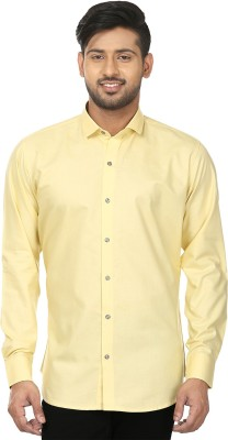 Louis Martin Men's Solid Formal Yellow Shirt
