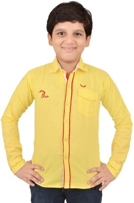 Little Dabang Boy's Solid Casual Yellow Shirt