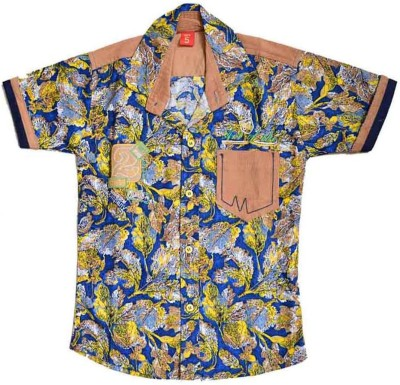 British Terminal Boy's Self Design Casual Yellow Shirt