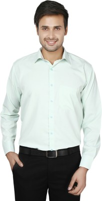 Spaky Men's Striped Formal Green Shirt