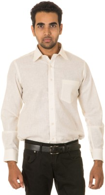 West Vogue Men's Solid Formal Yellow Shirt