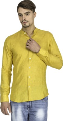 Mayank Modi Men's Solid Casual Linen Yellow Shirt