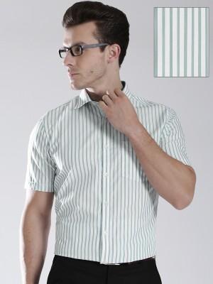 Invictus Men's Striped Formal White, Green Shirt