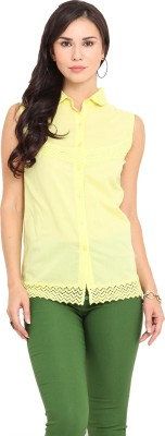 Urban Helsinki Women's Solid Casual Yellow Shirt