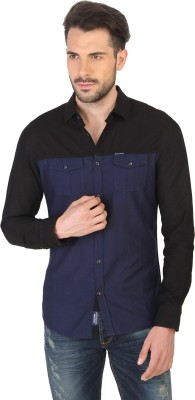 Being Human Men's Solid Casual Black, Blue Shirt
