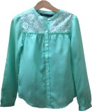 IDK Girls Solid Casual Light Green Shirt