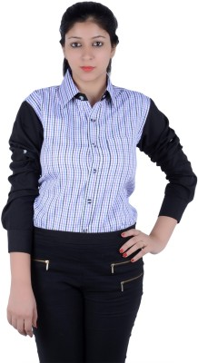 S9 Women's Checkered, Solid Casual Black, White, Blue, Purple Shirt