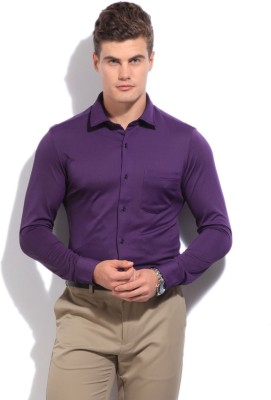 Arrow New York Men's Solid Casual Purple Shirt