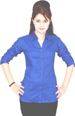 Jazzy Ben Women,s Solid Casual Blue Shirt