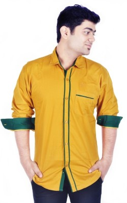 Hd Rascals Men's Solid Casual Yellow Shirt
