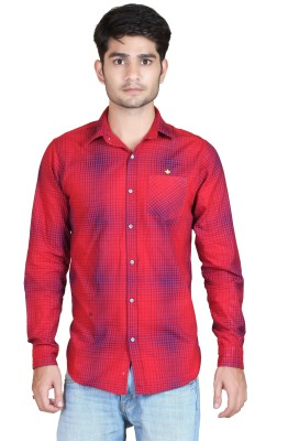 Playfox Men's Checkered Casual Red Shirt