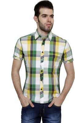 True Tittos Men's Checkered Casual Yellow, Green, White, Grey Shirt