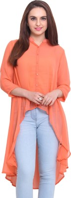 Rena Love Women's Solid Casual Orange Shirt