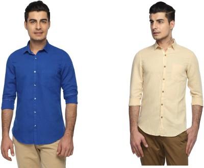 Marc N, Park Men's Solid Casual Linen Multicolor Shirt