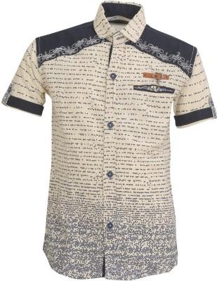 Font Kids Boy's Printed Casual Blue Shirt