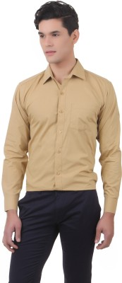 You Forever Men's Solid Casual Brown Shirt