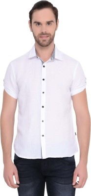 IDENTITI Men's Solid Casual White Shirt