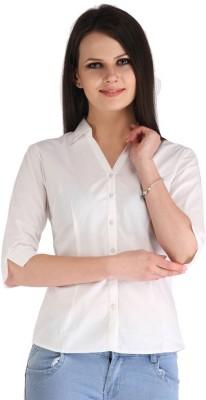 ZAIRE Women's Solid Casual White Shirt