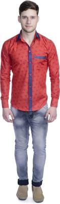 Aligatorr Men's Printed Formal Red Shirt