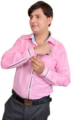 Srjls Men's Solid Formal Pink Shirt